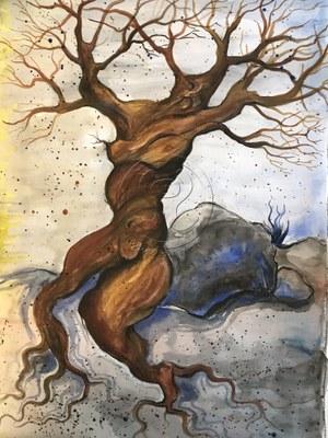 *baumfrau* aquarell auf papier, ca 30/40 cm