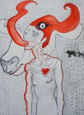 *kuhfrau* kohle & aquarell auf papier, ca 30/50 cm