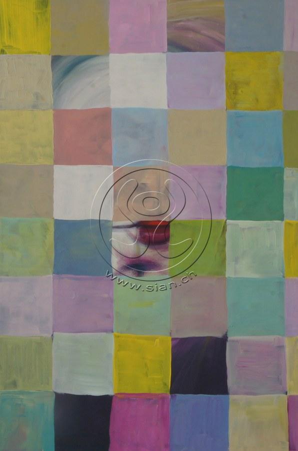* verstecktes portrait* acryl auf leinwand, 54/80 cm