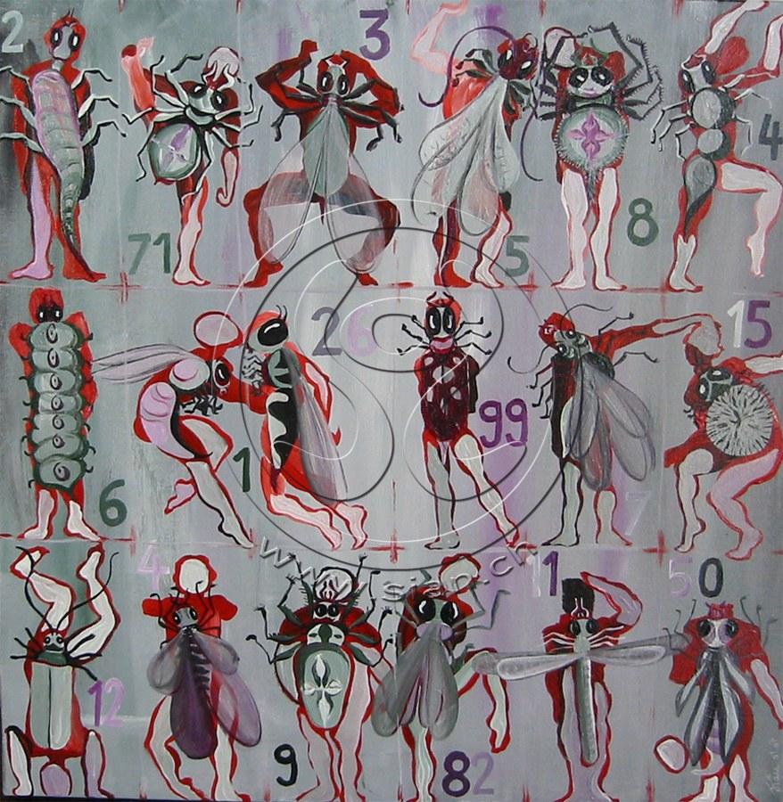 *insektenmenschen*acryl auf leinwand, 50/50 cm